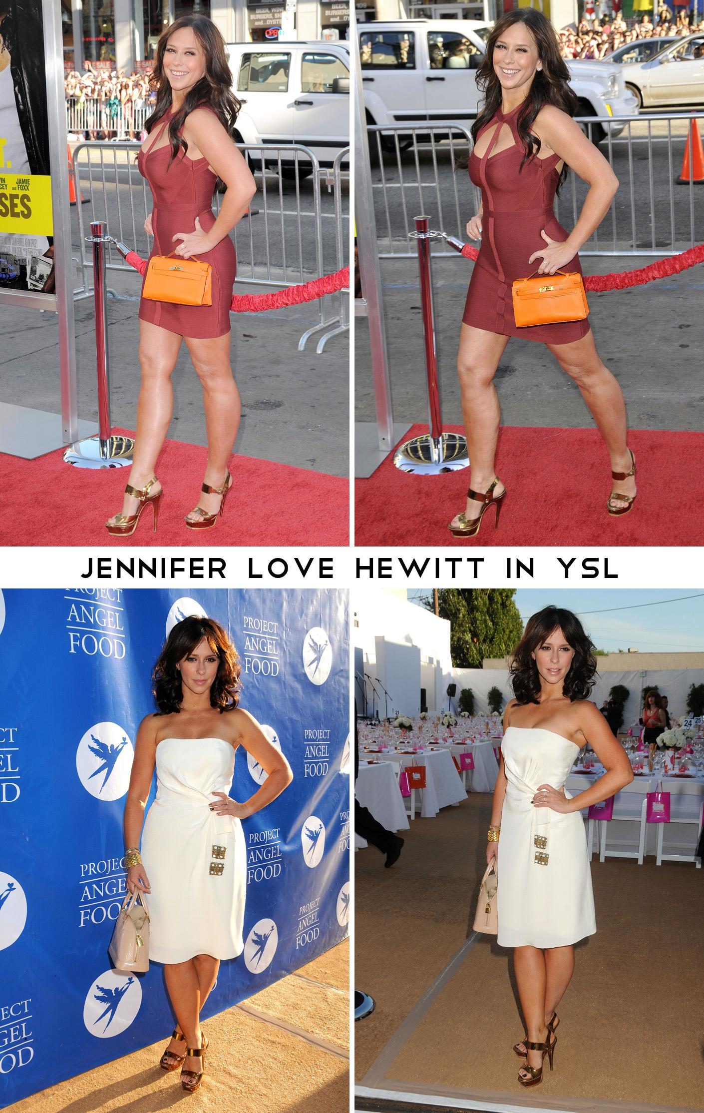 b21fe676a84 Jennifer Love Hewitt wears these golden YSL sandals often  —. First  generation Tribute platforms ...